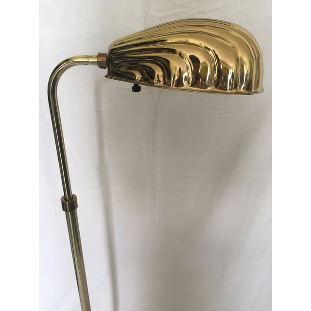 Adjustable Brass Clamshell Pharmacy Floor Lamp For Sale - Image 4 of 5