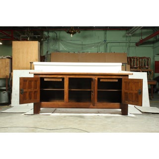 Mid-Century Mediterranean, Spanish Mission Style Oak Buffet/Console With Cast Iron Studs and Hardware Preview