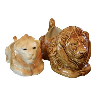Glazed Pottery Lion Planters - a Pair