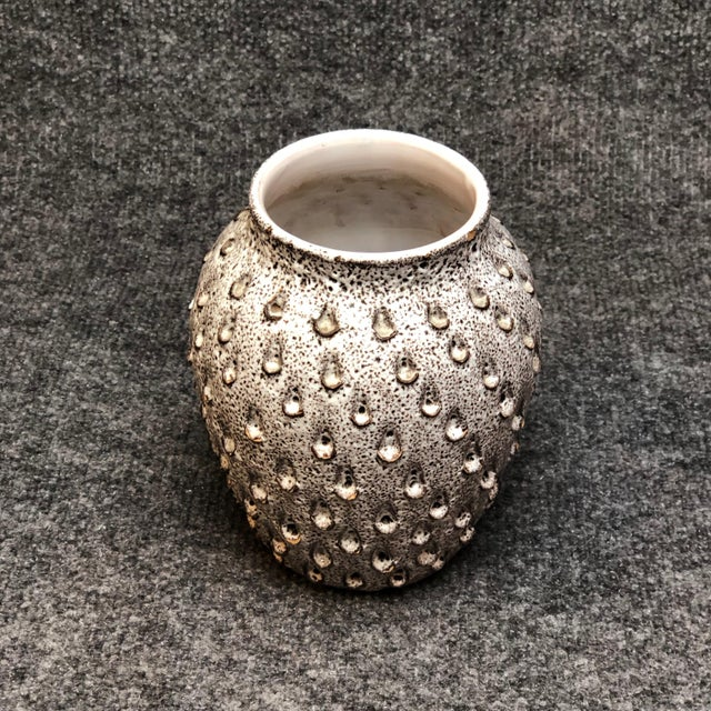 Italian Mid Century White and Grey Dimpled Vase For Sale - Image 4 of 5