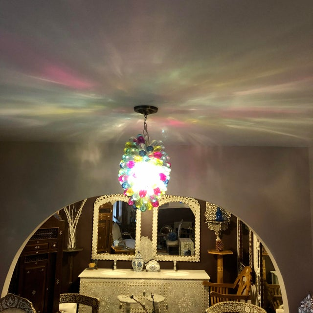 Recycled Hand Blown Glass Gemstones Color Chandelier For Sale - Image 9 of 12
