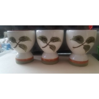 White with Red and Green Mid Century Stangl Redware Pottery Eggcups - Set of Three Preview
