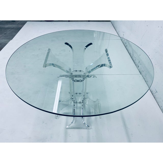 1970s Verano Lucite Dining Table With Glass Top For Sale - Image 5 of 13