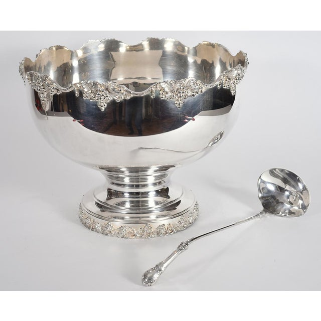 Vintage English Georgian Style Silver Plated & Copper Punch Bowl Set of 15 For Sale - Image 9 of 12