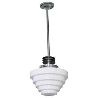Streamline Ceiling Pendant With Stepped Globe Circa 1930's For Sale