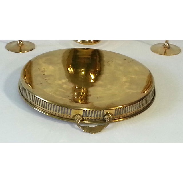 Mid-Century Brass Goblets, Vase & Tray - Set of 4 For Sale - Image 9 of 11
