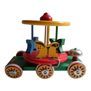 Vintage Brio Merry-Go-Round Wooden Pull Toy For Sale