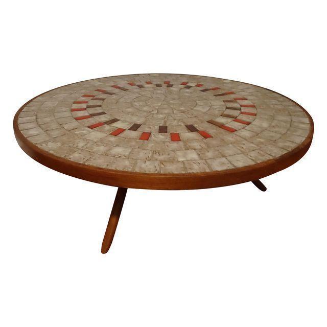 Mid-Century Ceramic Tiled Walnut Coffee Table - Image 1 of 3