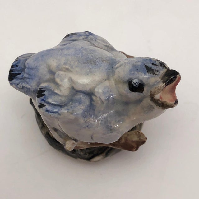 Ceramic Hand Sculpted Ceramic Baby Bluebird Figurine For Sale - Image 7 of 12