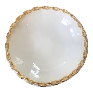 Ivory and Gold Chain Decorative Bowl For Sale