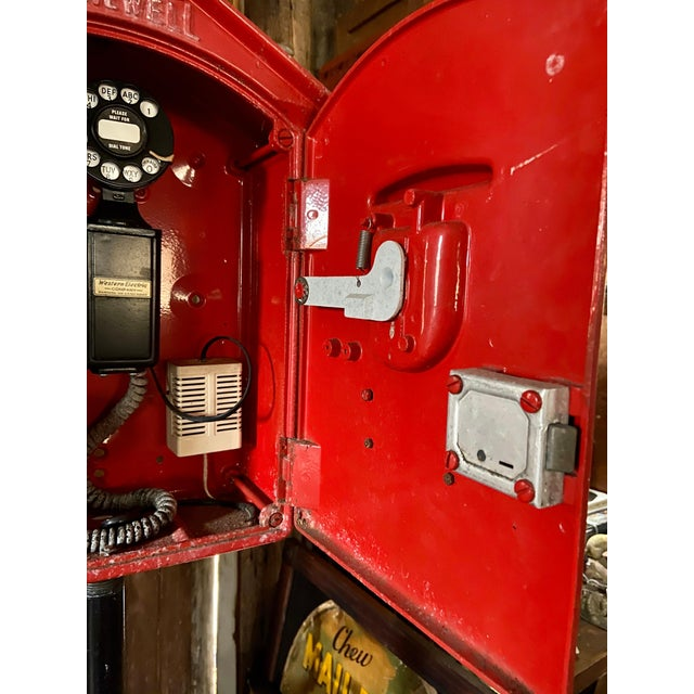 Mid-1900s Red Gamewell Cast Iron Fire Alarm Master Box W/ Western Electric Phone For Sale - Image 11 of 13