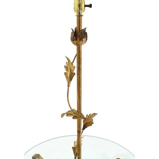 Decorative Gilt Metal Floor Side Table Lamp For Sale In New York - Image 6 of 9