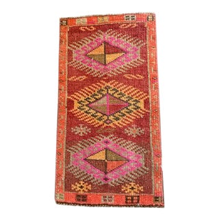 21st Century Vintage Bright Red and Pink Rug- 1′6″ × 2′10″ For Sale