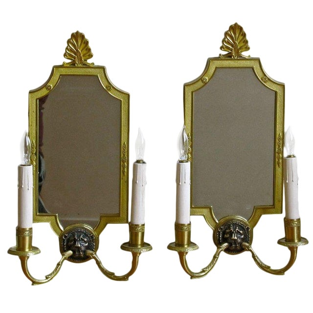 1940s French Brass Mirrored Lion Wall Sconces - a Pair For Sale