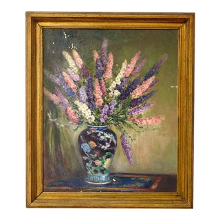 Oil on Canvas Still Life Painting of Flowers in Vase, Painted by Texas Artist Vallie Fletcher For Sale