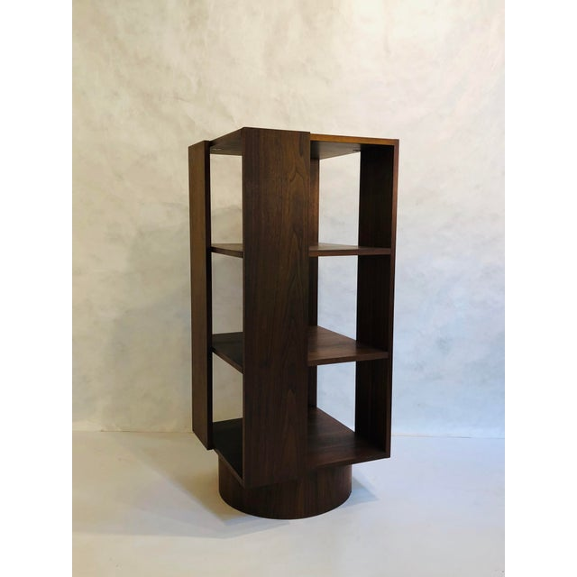 Mid-Century Modern Revolving Walnut Bookcase For Sale - Image 3 of 9