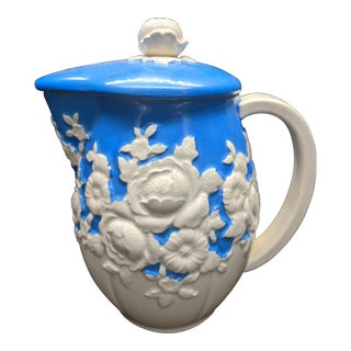 Moriyama Mori Machi Floral Porcelain Hand Painted Blue and White Pitcher With Lid, Japan For Sale