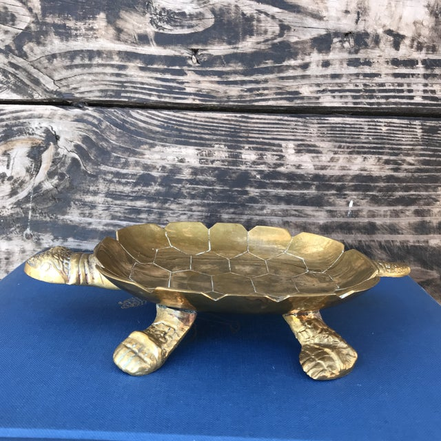 Boho Chic Large Vintage Solid Brass Turtle Catchall Tray Trinket Dish For Sale - Image 3 of 10