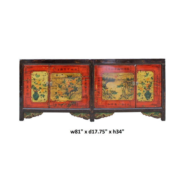 Red Chinese Distressed Brown Red Doors Long Sideboard Console Table Cabinet For Sale - Image 8 of 9
