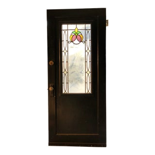 1900s Antique Leaded Stain Glass Front Door For Sale