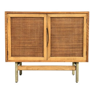 1960s Mid Century Modern American of Martinsville Walnut 2 Caned Door Credenza For Sale