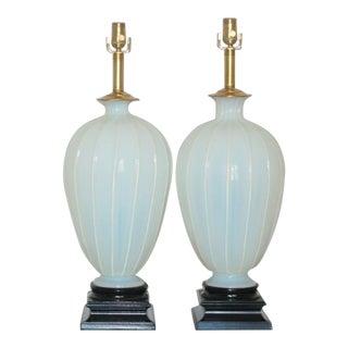 Marbro Murano White Opaline Glass Lamps For Sale
