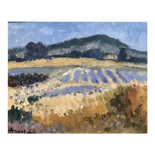 Lavender Fields Impressionist Oil Painting, Albert Malet For Sale