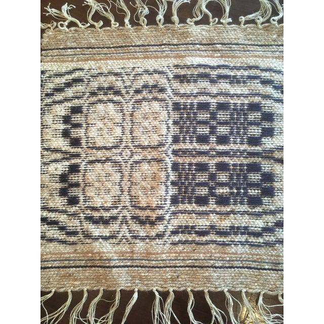 1960s Boho Chic Reversible Wool Weaving Rug Saddle Blanket For Sale - Image 6 of 7