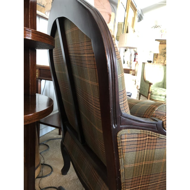 Wood Ralph Lauren Carved Mahogany and Plaid Upholstered Club Chair For Sale - Image 7 of 9