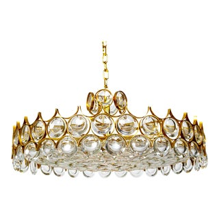 Large Palwa Circular Gilt Brass and Optical Lens Crystal Chandelier (2 Available) For Sale