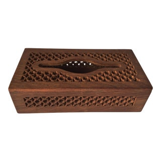 Vintage Carved Fretwork Wood Tissue Box
