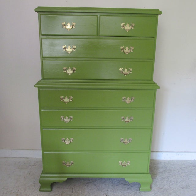 Vintage 1940s painted eight drawer chest on chest (one piece) dresser. Original heavy cast brass hardware. Constructed of...