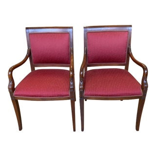 Mid 20th Century French Empire Swan Arm Chairs - a Pair For Sale