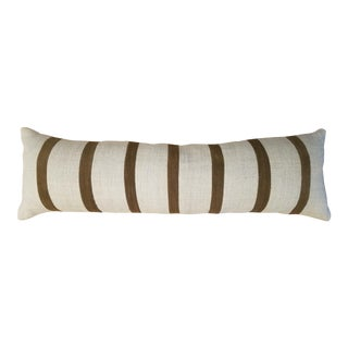 Boho Chic Style Striped Brown and Cream Linen Body Pillow