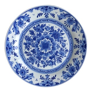 """1950s Vintage Delft 10""""Hand-Painted Wall Plate For Sale"""