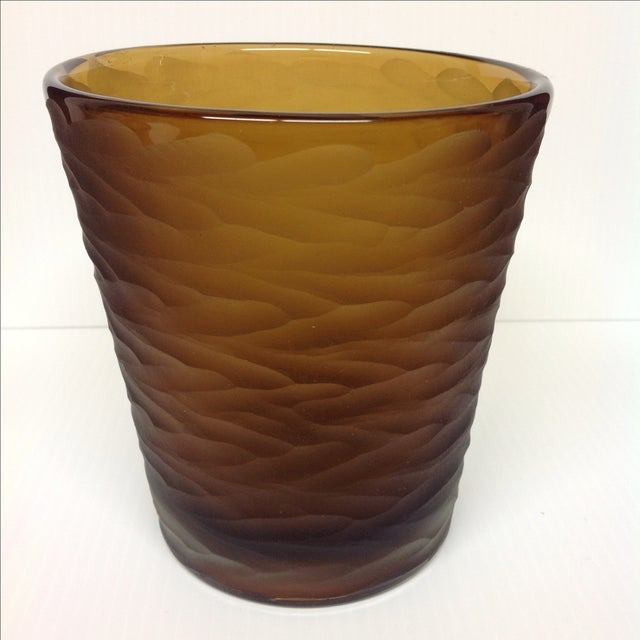 Carlo Scarpa Amber Glass Battuto Vase For Venini Chairish