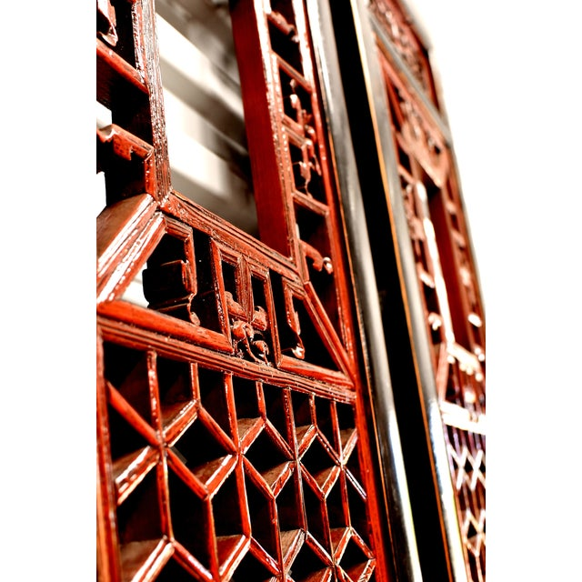 Wood Antique Chinese Red and Black Screens - a Pair For Sale - Image 7 of 13