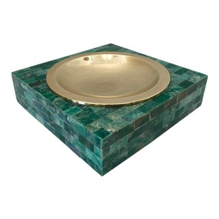 Mid-Century Tessellated Green Stone Catchall, Manner or Karl Springer, C.1970 For Sale
