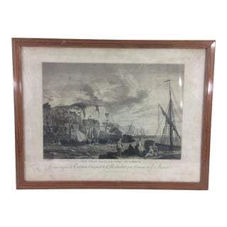 French 19th Century Steel Engraving with Ships For Sale