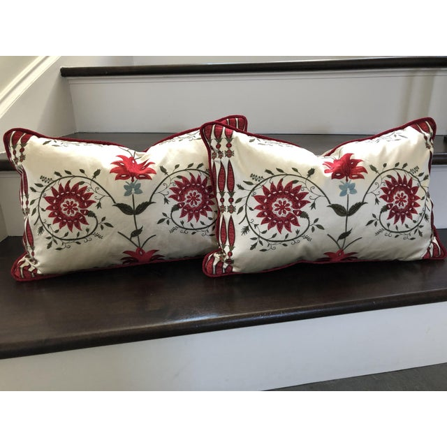 Fabric Pierre Frey Kidney Pillows - A Pair For Sale - Image 7 of 7