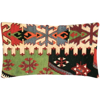 "Nalbandian - 1960s Turkish Kilim Lumbar Pillow - 10"" X 23"" For Sale"