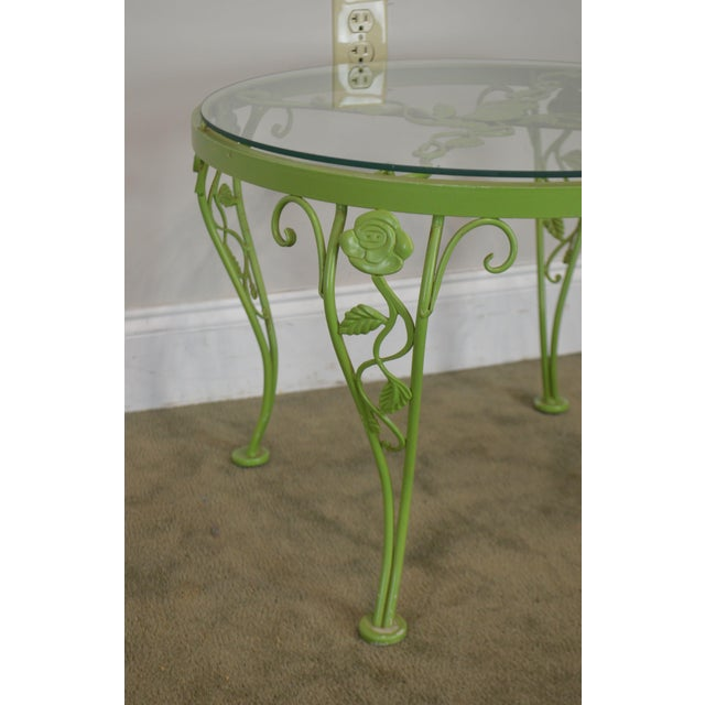 Woodard Chantilly Rose Garden Vintage Green Painted Wrought Iron Round Patio Side Table For Sale - Image 12 of 13