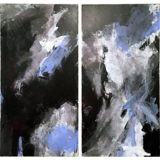 Abstract Stephanie Cate Abstract Europa 24 & 25 Diptych Acrylic Paintings on Wood Panel For Sale - Image 3 of 6
