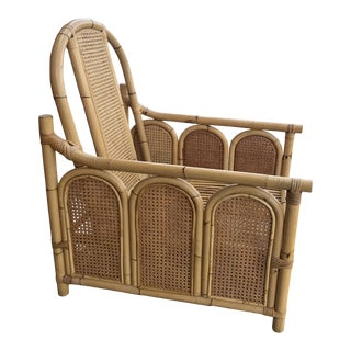 Bamboo Rattan Chair With Caning For Sale