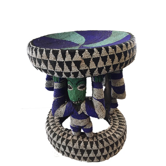 "African Beaded wood Bamileke Stool /Table Cameroon 19'""H For Sale - Image 12 of 12"