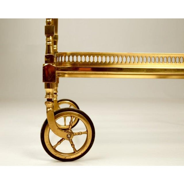 Mid 20th Century Vintage French Brass Bar Cart With Tray For Sale - Image 5 of 11