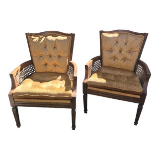 French Velvet Tufted Cane Chairs - A Pair