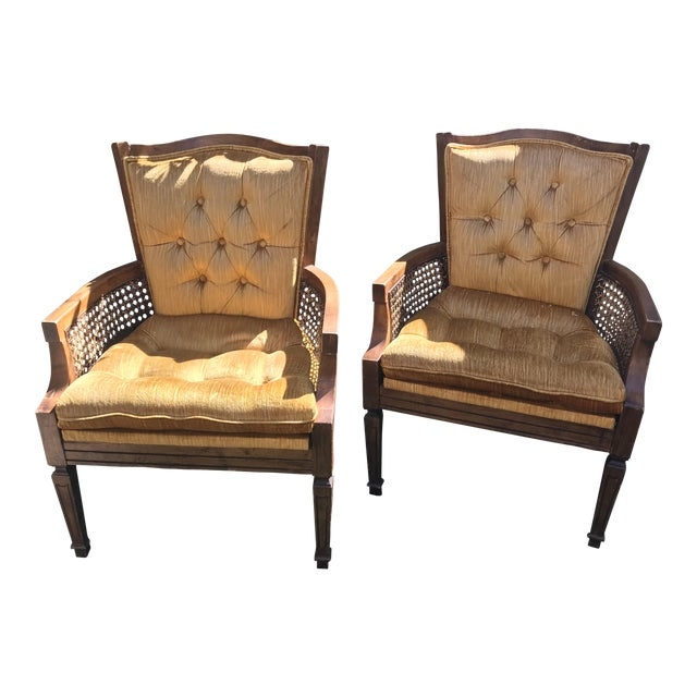 French Velvet Tufted Cane Chairs - A Pair - Image 1 of 4