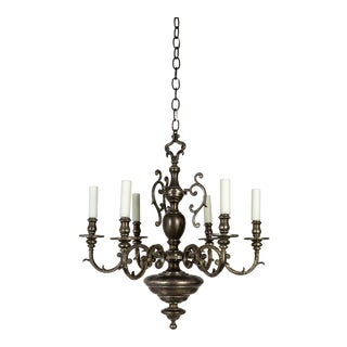 Dutch Baroque Silvered Solid Bronze Chandelier For Sale