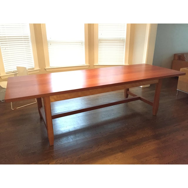 Custom Furniture Builders Solid Cherry Dining Table With Antique-Style Trestle For Sale - Image 4 of 11
